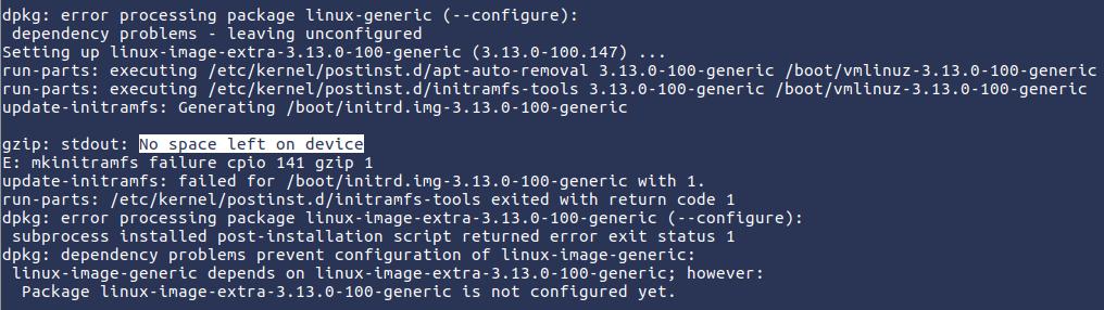 Ruimte vrijmaken op Linux /boot partitie