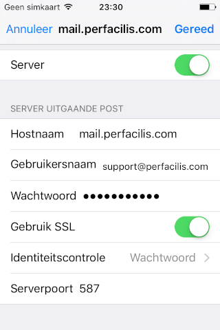 perfacilis mail ios 11 outgoing server details