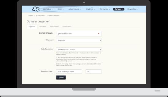 screenshot in laptop mail service setup as relay