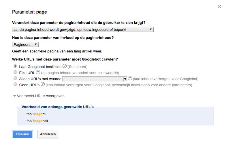 Webmaster Tools: URL parameters instellen